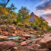 The Watchman along the Virgin River in Zion National Park in Utah at sunset during fall foliage.