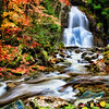 """""""Moss Glenn Falls"""" - Vermont<br /> <br /> This was photographed back in 2005 when I was still living in New England. An overcast day with a slight drizzle really helped out with the fall color."""