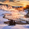 THIS IS ONE OF MY PRINTS OF THE MONTH FOR JANUARY 2021. Use Coupon Code PRINTSMONTH to save 40% on any print type & size!<br /> <br /> Leaving Bozeman at 5:30am Whitney and I arrived at Mammoth Hot Springs in Yellowstone National Park as planned just before sunrise.<br /> <br /> Not only was it my first time photographing at Mammoth at sunrise but it was my first time ever walking around the boardwalk along the hot springs. I've been in Yellowstone a bunch of times now, just never walked around that area.<br /> <br /> What an awesome experience it was! While Whitney stayed warm in the truck with the dogs, I walked about 2 miles photographing in the 15F degree weather and pretty much had the place to myself - only saw 3 other people the entire time I was out there 😊.