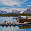 Kayaks and boats in Colter Bay in Grand Teton National Park, Wyoming.