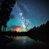 Milky Way night photos during summer at Grand Teton National Park in Wyoming at String Lake.