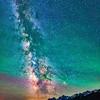 Night sky Milky Way and stars at Grand Teton National Park, Wyoming. Jackson Lake Overlook