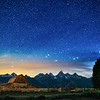 Milky Way and lightpainting during summer at Grand Teton National Park in Wyoming at T.A. Molten Barn. Mormon Row Barns.
