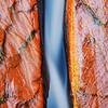 """Elegant Flux"" - Water flows through a narrow crack in sandstone along a creek in Zion National Park, Utah."