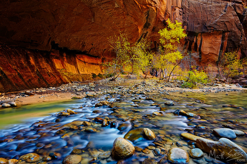 The Narrows in Zion National Park, Utah along the Virgin River.