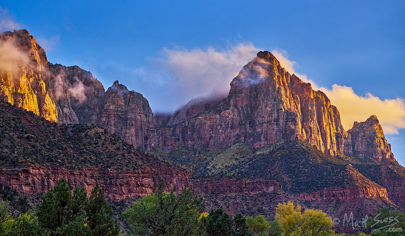 Sunset at the Watchman at Zion National Park in Utah.