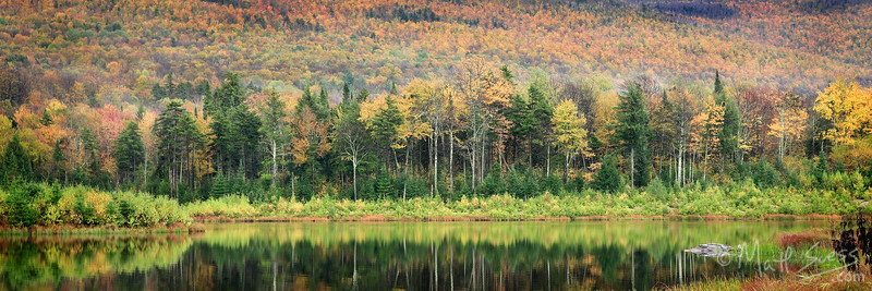 Fall foliage along a lake in Central Vermont.