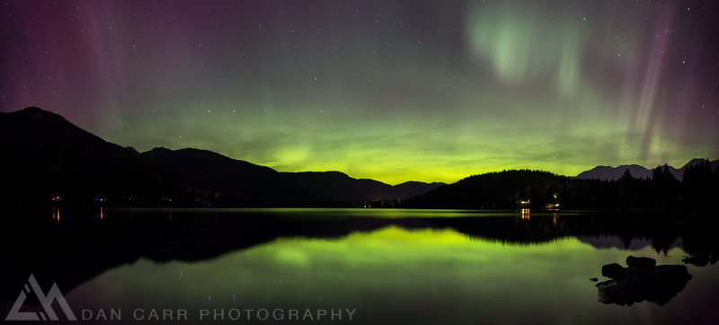 A panorama of the Aurora Borealis (northern lights) reflected in Alta Lake, Whistler, British Columbia, Canada. October 8, 2012.  Photo: Dan Carr