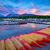 Sunrise at Colter Bay Marina in Grand Teton National Park, Wyoming.