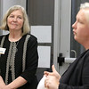 The Arc of Opportunity of North Central Massachusetts staff and representatives from Comcast NBCUniversal hosted an Open House from that launched The Arc of Opportunity's Coaching Center, which is offering individualized consultations designed to help individuals with intellectual and developmental disabilities use technology to achieve greater independence on Tuesday afternoon, October 2, 2018. President and CEO of ARC Mary Heafy listens to Becca Fracassa the director of community impact for Comcast Cable as she talks about their involvement in the program during the event. SENTINEL & ENTERPRISE/JOHN LOVE
