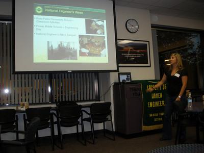 President Katie Urbas introducing SWE programs during E-Week