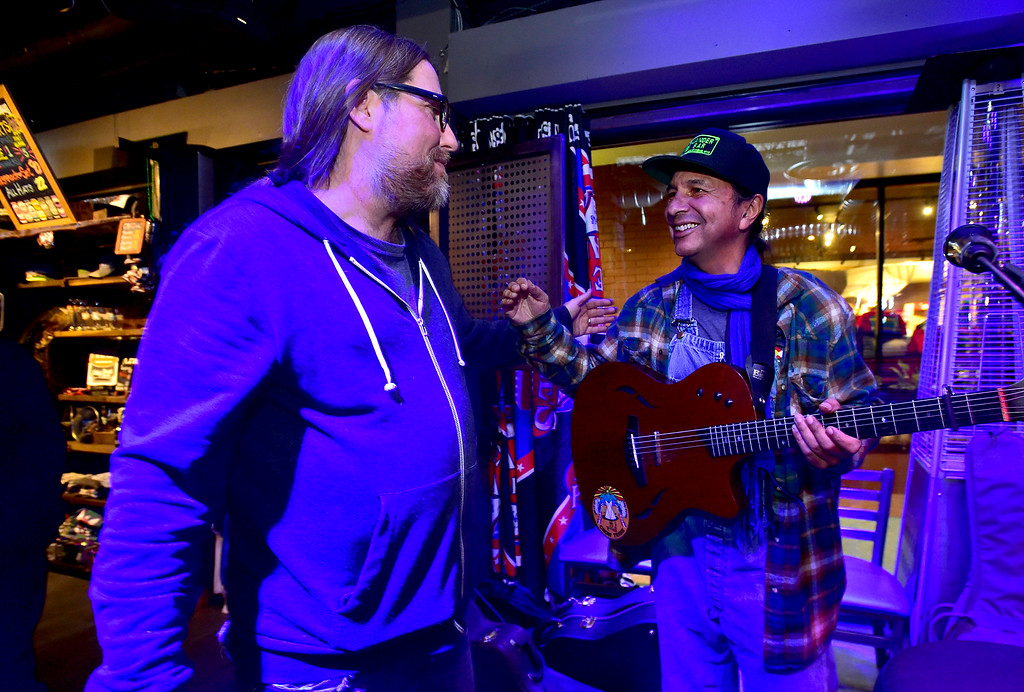 . Danny Shafer, left, thanks Cary Morin after Morin did a couple of songs during the open mic night at the Oskar Blues Boulder Taproom � on Tuesday.  For more photos go to dailycamera.com Paul Aiken Staff Photographer Nov 14, 2017