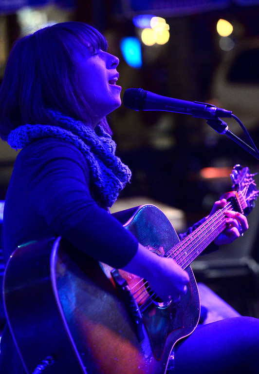 . Liz Berube who plays with The Wooden Spoons performs during the open mic night at the Oskar Blues Boulder Taproom � on Tuesday.  For more photos go to dailycamera.com Paul Aiken Staff Photographer Nov 14, 2017