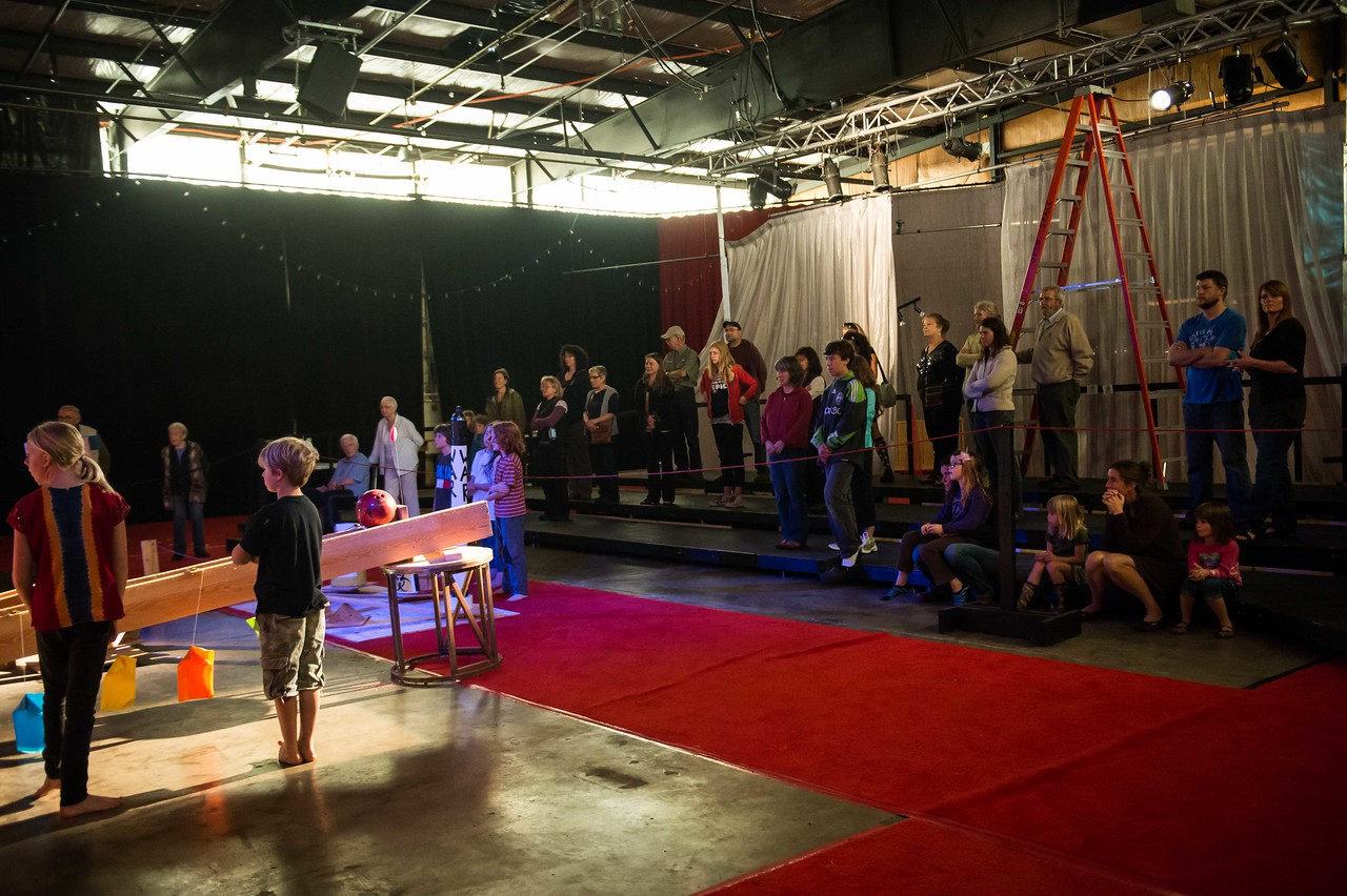 "Art of Physics and Comedy, ""rube goldberg"" performance images of the unveiling on 07-20-12"