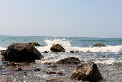 Block Island Waves crash into the rocks