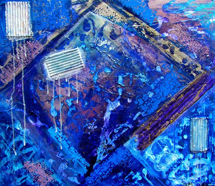 """Underneath"" (mixed media on canvas) by Steph France"