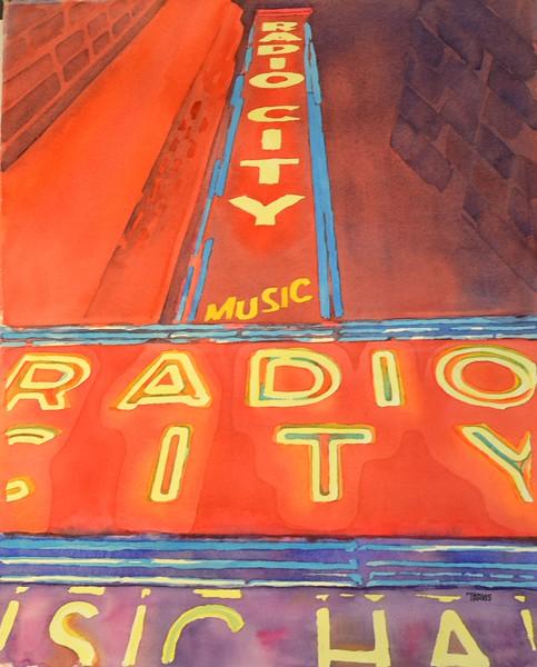 """Radio City"" (watercolor) by Travis Poelle"