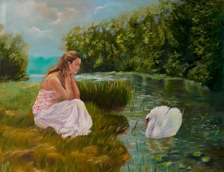 """""""Lonely Swan"""" (oil on canvas) by Ruslana Levandovska"""