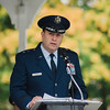 "Major General Gary W. Keefe, Assistant Adjunct General for the Massachusetts Air National Guard, speaks during the ceremonies at Carter Park on Thursday morning. ""The Wall That Heals"", a 250-foot replica of the Vietnam Wall, is on display at Carter Park and ceremonies will be held daily through Saturday evening. SENTINEL & ENTERPRISE / Ashley Green"