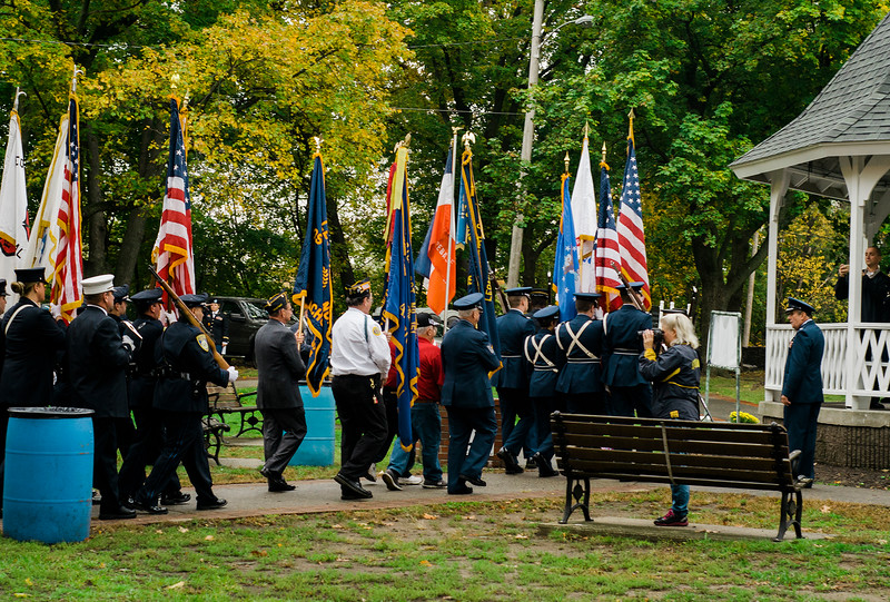"Honor Guards present the colors during the ceremonies at ""The Wall That Heals"" at Carter Park on Thursday morning. The wall, a 250-foot replica of the Vietnam Wall, is on display at Carter Park and ceremonies will be held daily through Saturday evening. SENTINEL & ENTERPRISE / Ashley Green"