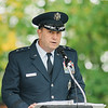 "Major General Gary W. Keefe, Assistant Adjutant General for the Massachusetts Air National Guard, speaks during the ceremonies at ""The Wall That Heals"" at Carter Park on Thursday morning. The wall, a 250-foot replica of the Vietnam Wall, is on display at Carter Park and ceremonies will be held daily through Saturday evening. SENTINEL & ENTERPRISE / Ashley Green"