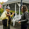 "Natalie Higgins, candidate for State Representative in Leominster, speaks with veterans during the ceremonies at ""The Wall That Heals"" at Carter Park on Thursday morning. The wall, a 250-foot replica of the Vietnam Wall, is on display at Carter Park and ceremonies will be held daily through Saturday evening. SENTINEL & ENTERPRISE / Ashley Green"