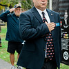 "Richard Voutour, USMC 1st SGT and Leominster Veteran Service Officer, salutes during the ceremonies at ""The Wall That Heals"" at Carter Park on Thursday morning. The wall, a 250-foot replica of the Vietnam Wall, is on display at Carter Park and ceremonies will be held daily through Saturday evening. SENTINEL & ENTERPRISE / Ashley Green"
