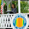 "Lt. Gov. Karyn Polito speaks during the ceremonies at ""The Wall That Heals"" at Carter Park on Thursday morning. The wall, a 250-foot replica of the Vietnam Wall, is on display at Carter Park and ceremonies will be held daily through Saturday evening. SENTINEL & ENTERPRISE / Ashley Green"