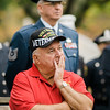 "Roger Goguen, Vietnam Army Veteran, listens intently during the ceremonies at Carter Park on Thursday morning. ""The Wall That Heals"", a 250-foot replica of the Vietnam Wall, is on display at Carter Park and ceremonies will be held daily through Saturday evening. SENTINEL & ENTERPRISE / Ashley Green"