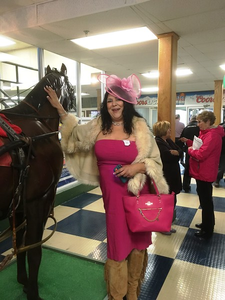 Selma Sageer was one of several contestants in the Vernon Downs hat contest on Saturday, May 6 as the track celebrated the Kentucky Derby.
