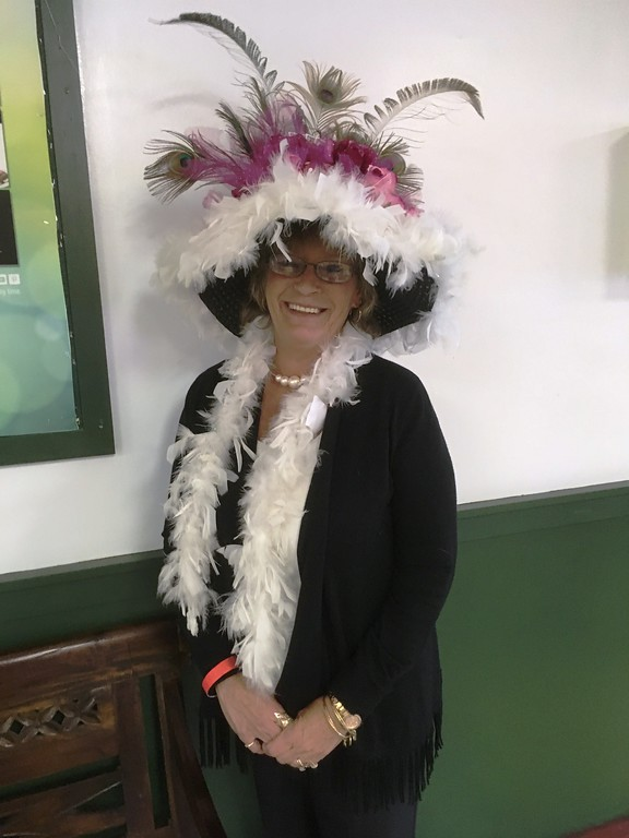 . Renée, from Binghamton, celebrated the Kentucky Derby at the Vernon Downs race track on Saturday, May 6, participating in the annual hat contest.