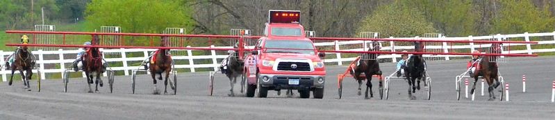 KYLE MENNIG - ONEIDA DAILY DISPATCH Horses come to the gate for the first race of the season at Vernon Downs on Friday, May 5, 2017.