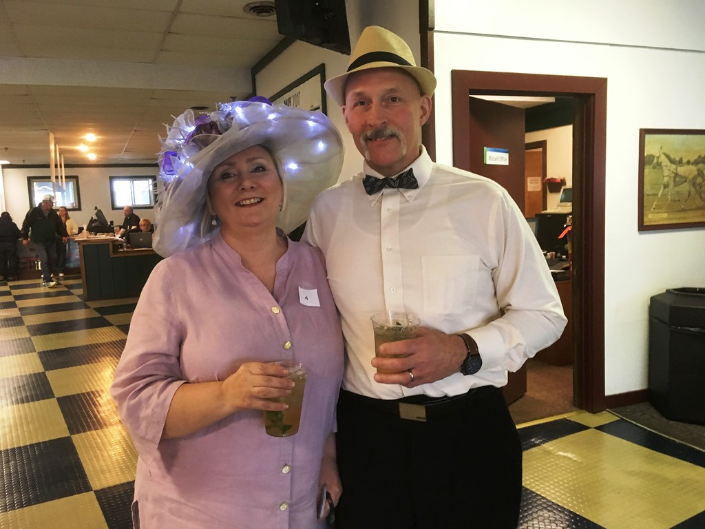 . Lucinda and Fran, from Mexico, New York, celebrated the Kentucky Derby at the Vernon Downs race track on Saturday, May 6, and Lucinda tried her luck in the traditional hat contest held at the local track.