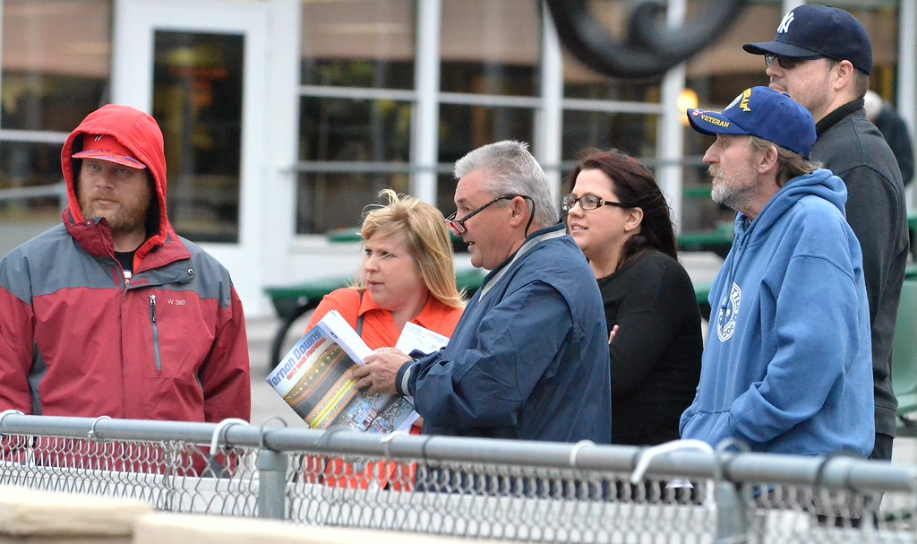 . KYLE MENNIG - ONEIDA DAILY DISPATCH Spectators watch the first race of the season at Vernon Downs on Friday, May 5, 2017.