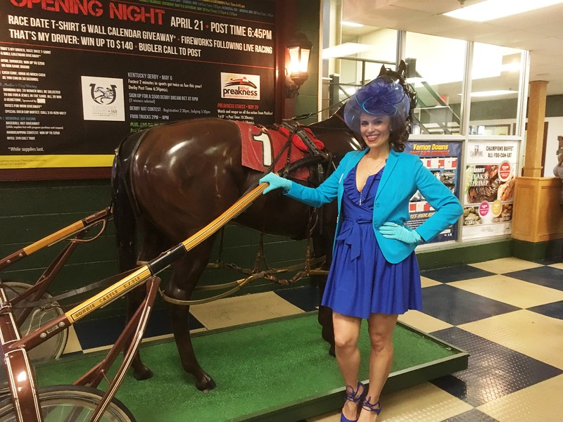 Julie Taboulie was one of several contestants in the Vernon Downs hat contest on Saturday, May 6 as the track celebrated the Kentucky Derby.