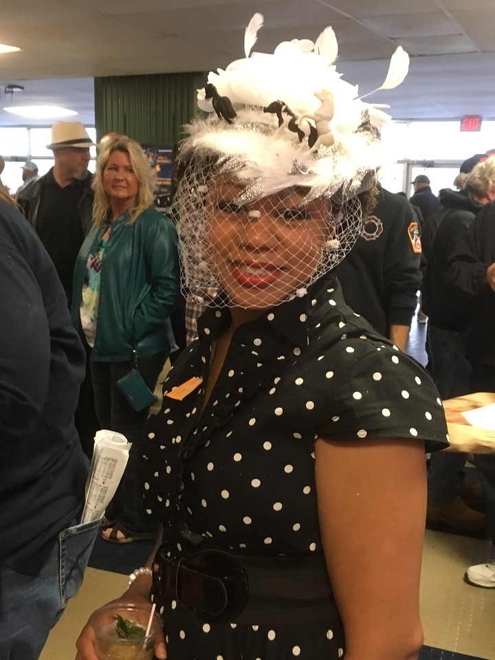 Nikita from Syracuse shows off her hat during the Kentucky Derby celebrations at Vernon Downs on Saturday, May 6.
