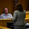 """KRISTOPHER RADDER - BRATTLEBORO REFORMER<br /> State's Attorney Tracy Shriver talks to Stanley """"Mike"""" Bills, on the stand in Windham County Superior Court, Criminal Division, on Friday, on Friday, June 9, 2017, about the 9-1-1 phone call that he made to Vermont State Police after receiving a phone call from Robin O'Neill, during which he testified she confessed to the murders of Steven Lott and his son Jamis in November 2014."""