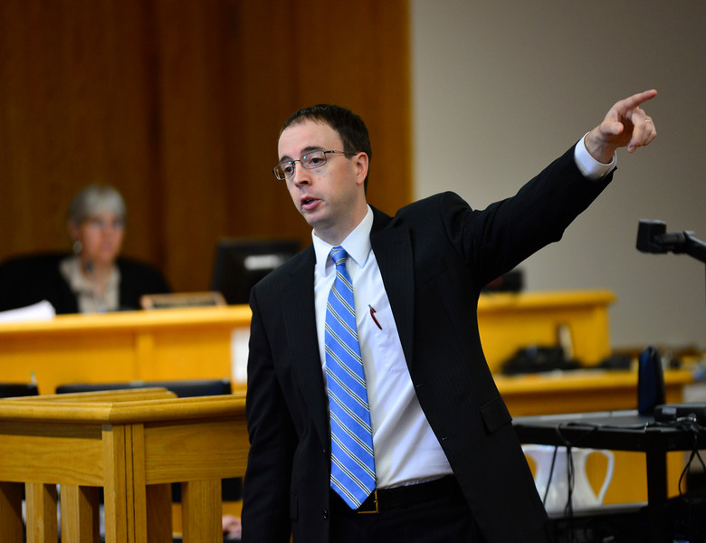 KRISTOPHER RADDER - BRATTLEBORO REFORMER<br /> Deputy State's Attorney Steve Brown delivers the state's opening arguments during a double homicide case in Windham County Superior Court, Criminal Division, on Friday, June 9, 2017. O'Neill is accused of killing two men in Townshend in November 2014.