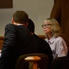 KRISTOPHER RADDER - BRATTLEBORO REFORMER<br /> Robin O'Neill talks to her defense attorneys, Ian Carleton and Kevin Lumpkin, during opening arguments at the Windham County Superior Court, Criminal Division, on Friday, June 9, 2017. O'Neill is accused of killing two men in Townshend in November 2014.
