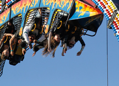 Fair goers head straight to the rides on opening day of the Silver Dollar Fair Thursday May 25, 2017 at the Silver Dollar Fairgrounds in Chico, California. (Emily Bertolino -- Enterprise-Record)