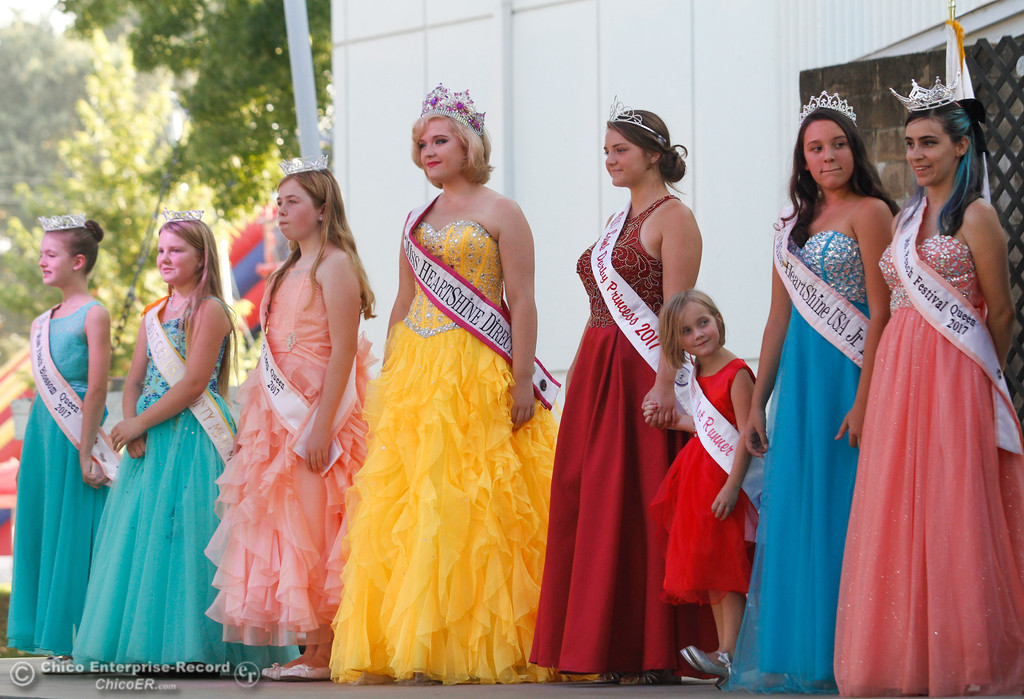 . Visiting royalty is introduced during the Missette, Miss Teen and Miss Butte County Competition on the opening night of the 2017 Butte County Fair Thursday August 24, 2017 in Gridley, California. (Emily Bertolino -- Mercury-Register)