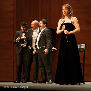 (L. to r.) Tenors Karim Sulayman, Jeffrey Thompson and Emiliano Gonzales Toro and soprano Elizabeth Calleo  in Opera Lafayette's production of Grétry's Le Magnifique