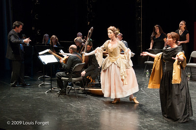 (L to R) Dancer Caroline Copeland and soprano Nathalie Paulin with conducor Ryan Brown in rehearsal of Opera Lafayette's production of Les Arts Florissants by Charpentier