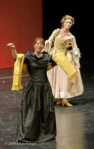 (L to R) Soprano Nathalie Paulin and dancer Caroline Copeland in rehearsal of Opera Lafayette's production of Les Arts Florissants by Charpentier