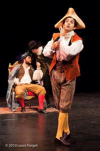 Tenor Karim Sulayman (front), baritones Darren Perry and Eric Christopher Black (back, l. to r.) in Opera Lafayette's production of Philidor's Sancho Pança