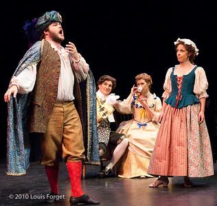 (L to R) Baritone Darren Perry, tenor Tony Boutté, sopranos Meghan McCall and Elizabeth Calleo in Opera Lafayette's production of Philidor's Sancho Pança