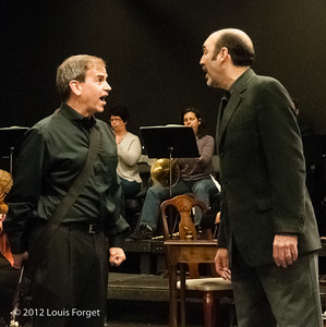 (L. to R.) Bass-baritone James Shaffran and tenor Robert Baker in rehearsal of Opera Lafayette's production of Il Barbiere di Siviglia by Paisiello