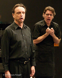 (L. to R.) Bass-baritone Eugene Galvin and baritone Andrew Sauvageau in rehearsal of Opera Lafayette's production of Il Barbiere di Siviglia by Paisiello
