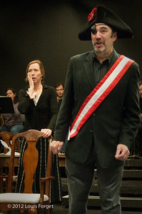 (L. to R.) Soprano Jennifer Casey Cabot and tenor Robert Baker in rehearsal of Opera Lafayette's production of Il Barbiere di Siviglia by Paisiello