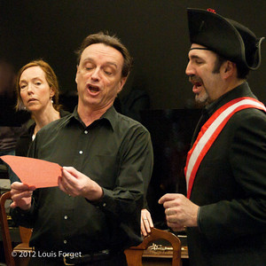 (L. to R.) Soprano Jennifer Casey Cabot, bass-baritone Egene Galvin and tenor Robert Baker in rehearsal of Opera Lafayette's production of Il Barbiere di Siviglia by Paisiello